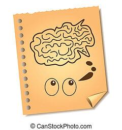 skiss, idé, anteckna, hjärna, papper, återanvända