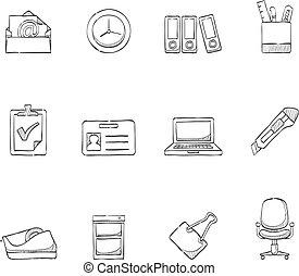 skiss, ikonen,  -, kontor, mer