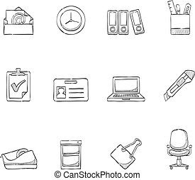 skiss, ikonen, -, mer, kontor