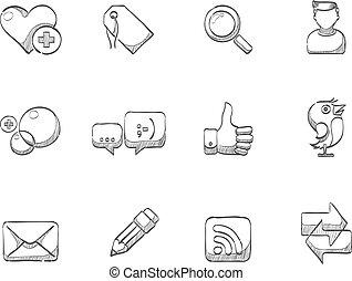 skiss, ikonen, -, social, nätverk