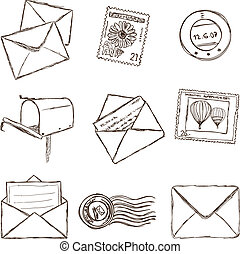 skiss, ikonen, -, stil, illustration, postande