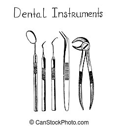 skiss, instrument, dental, illustration, vektor, stil