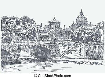 skiss, italien, original, rom, stadsbild, teckning