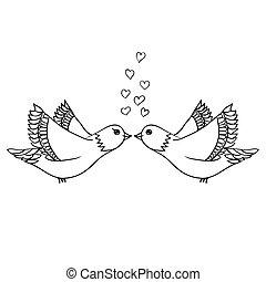 skiss, kärlek, par, fåglar