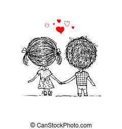 skiss, kärlek, par, valentinbrev, design, tillsammans, din
