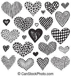 skiss, Kollektion,  hand, vektor, hjärtan, oavgjord