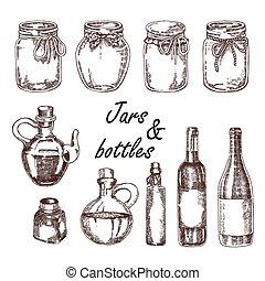 skiss, olja, flaskor, årgång, illustration, bottles., vektor, oliv, oavgjord, krukor, hand, style., vin