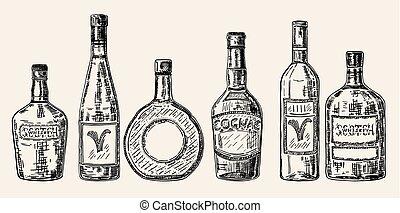 skiss, sätta, flaskor, alkohol, årgång, stil, hand, vektor, oavgjord