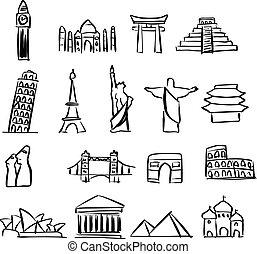 skiss, sätta, omkring, klotter, milstolpar, fodrar, isolerat, illustration, hand, berömd, vektor, svart fond, värld, oavgjord, vit, ikon