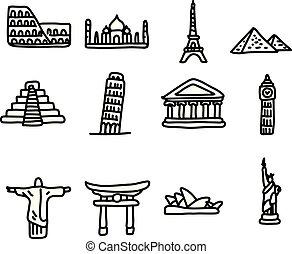 skiss, sätta, omkring, resa, isolerat, illustration, hand, fodrar, vektor, svart fond, värld, oavgjord, vit, milstolpar, ikon