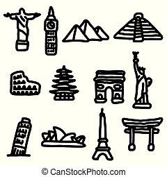 skiss, sätta, omkring, stor, resa, isolerat, illustration, hand, fodrar, vektor, svart fond, värld, oavgjord, vit, milstolpar, ikon