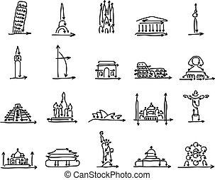 skiss, sätta, pil, värld, klotter, milstolpar, fodrar, isolerat, illustration, hand, vektor, svart fond, undertecknar, oavgjord, vit, gjord