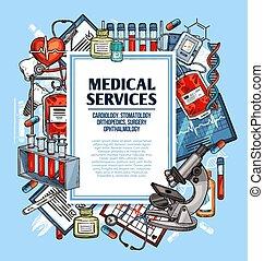 skiss, service, affisch, medicinsk, medicin, ram