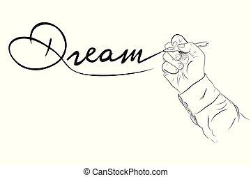 skiss, skissera, hans, enkel, skecthy, hand, skrift, vektor, dröm