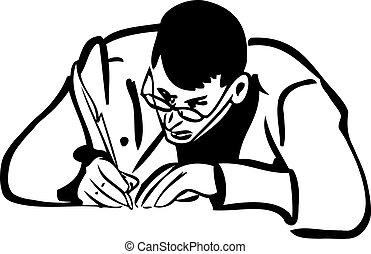 skiss, skrift fålla, man, vingpenna, glasögon