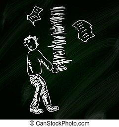 skiss, skrivbordsarbete, klotter, bärande, bakgrund, blackboard, man