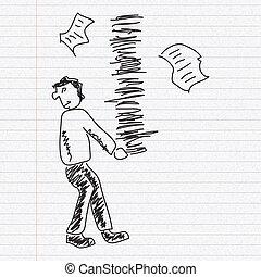 skiss, skrivbordsarbete, klotter, bärande, papper, bakgrund, man