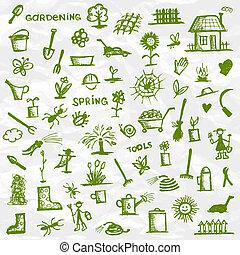 skiss, spring., trädgård formge, redskapen, din