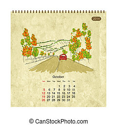 skiss, stad, october., streets, design, kalender, din, 2014
