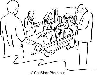skiss, tålmodig, säng, sjukhus, fodrar, isolerat, illustration, hand, fyra, vektor, svart, ta, bakgrund, doktorn, oavgjord, vit, omsorg