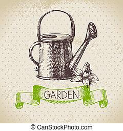 skiss, trädgårdsarbete, årgång, hand, bakgrund., design, ...