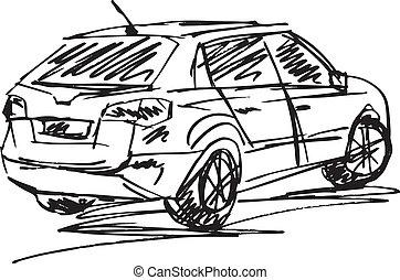 skiss, vektor, cars., illustration