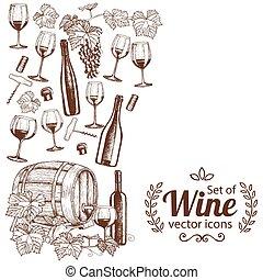 skiss, vertikal, ikonen, gräns, sida, vin