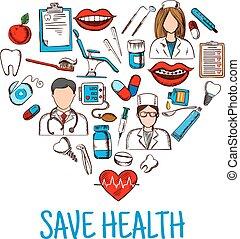 skissar, hjärta, symbol, hälsa, räddning, medicinsk