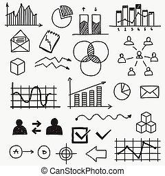 skissar, learnings, elementara, finans, affär, klotter, begrepp, hand, analytics, infographic, oavgjord, framsteg