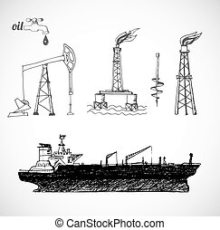 skissar, olja, objekt