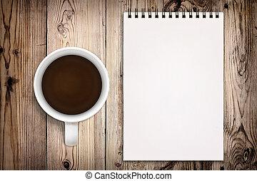 skissbok, med, kaffe kopp, på, trä, bakgrund