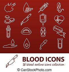 skissera, blod, ikonen