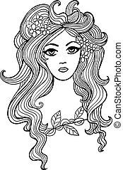 skissera, flicka, illustration, design, svart, vit, din