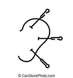 skissera, fodra, akupunktur, vektor, underteckna, ...