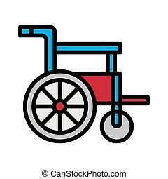 skissera, fyllt, ikon, hjul stol
