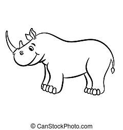 skissera, illustration, vektor, noshörningen
