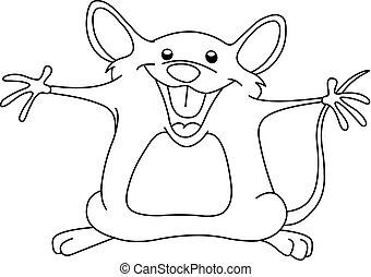 skissera, lycklig, mus