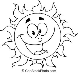 skissera, lycklig, sol