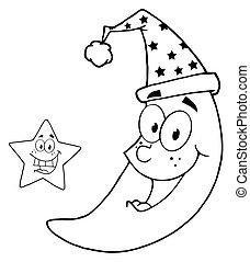 skissera, lycklig, stjärna, och, måne