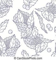 skissera, mönster, bladen, seamless, hand, oavgjord, bär