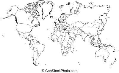 skissera, mycket, land, bor, illustration, värld, fin, (with