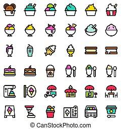 skissera, sätta, editable, is, ikon, fyllt, grädde