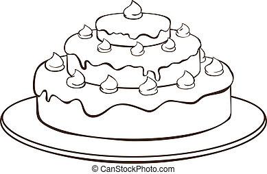 skissera, tårta
