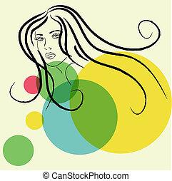 skitse, ansigt kvinde