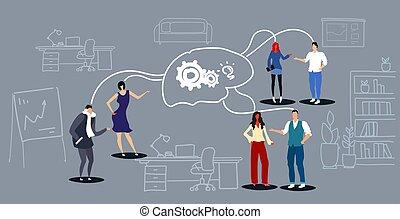 skitse, begreb, folk kontor, proces, ide, hjerne, co-working, synes grupper, generation, summemøde, interior, møde, hjul, indgreb, firma, horisontale, arbejde, businesspeople, projekt, hold