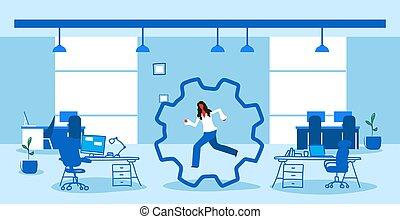 skitse, begreb, kontor, proces, moderne, gearwheel, deadlinen, arbejder, doodle, interior, hjul, branche kvinde, arbejder, kabinet, løb, horisontale, businesswoman, inderside, maskineri, cog, korporativ