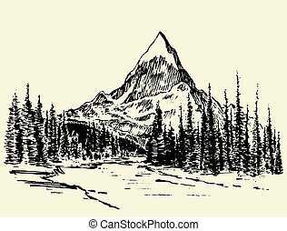 skitse, bjerge, fyrre skov, flod, stram, vektor