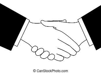 skitse, branche deal, håndslag, sort, hvid, clipart