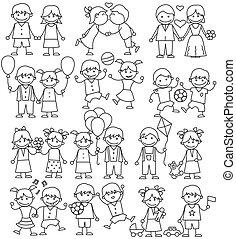 skitse, childrens, hæfte, iconerne, hånd, stram, art.