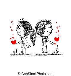 skitse, constitutions, par, valentine, konstruktion, sammen, din
